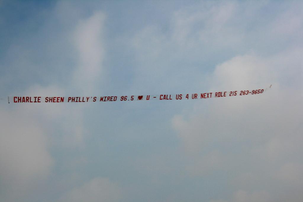 charlie sheen aeroplane banner